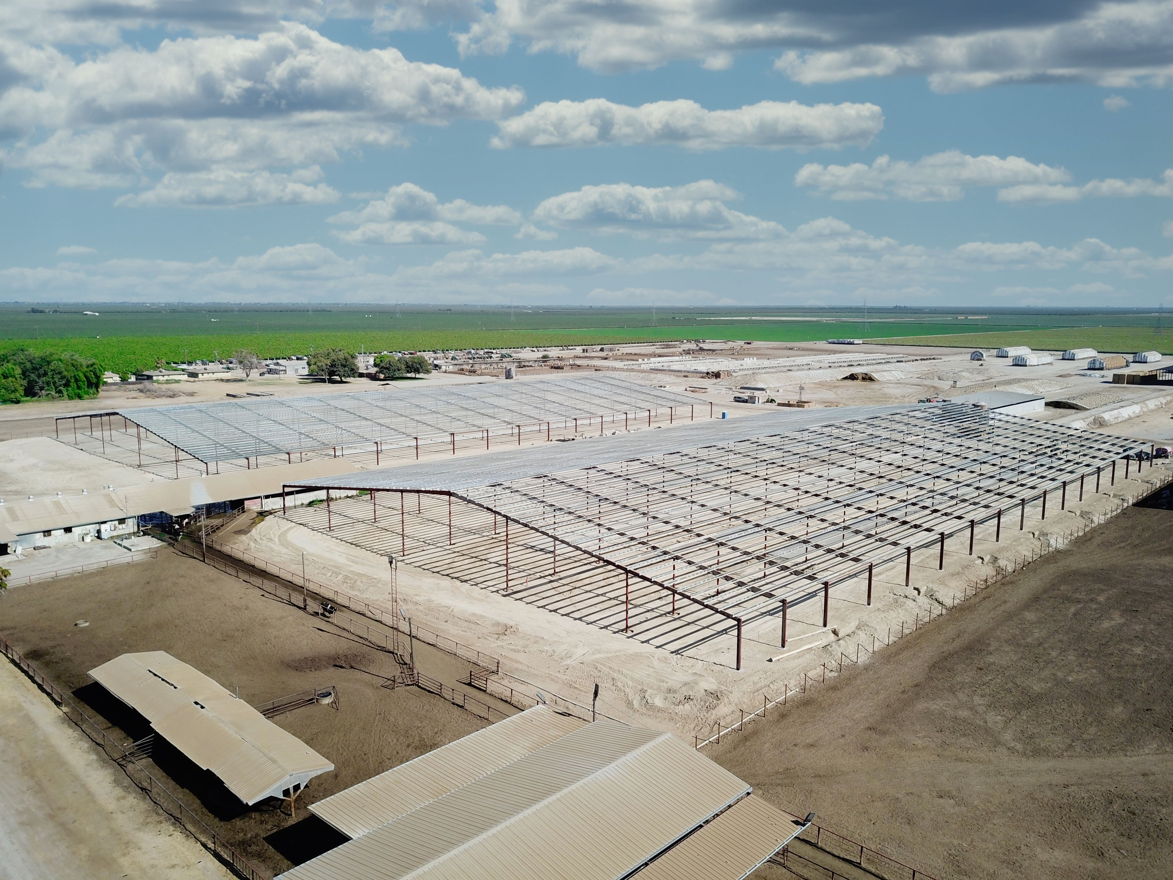 Construction site of Fred Rau Dairy's two new free stall barns.