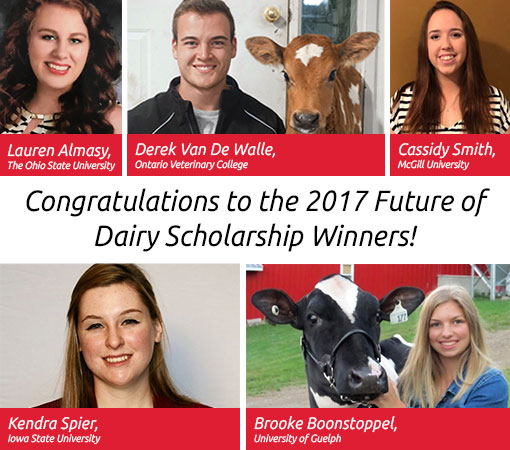 Congratulations to the 2017 winners of the Lely Future of Dairy Scholarship Program!