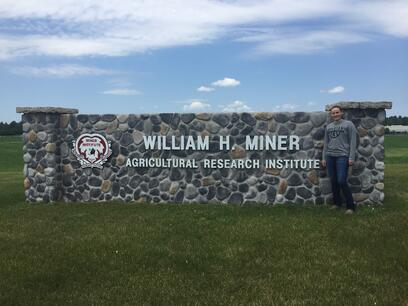 Lely scholarship winner Lynn Olthof at William H. Miner Agricultural Research Institute
