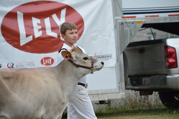 Youth Delegate to Jersey Ontario Board of Directors with cow during the Western Ontario Rally.