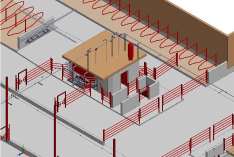 3D render of the Folsom Barn Layout with the Lely Astronaut A5 robotic milking system