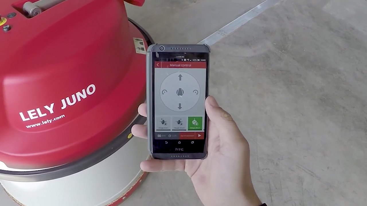 Lely Juno automatic calf feeder being monitored by T4C on a mobile device.