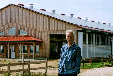 Martin de Groot outside dairy barn