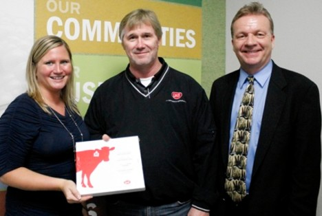 From left to right – Megan Kregel, dairy center coordinator for Northeast Iowa Dairy Foundation, Rick Rugg, regional sales manager for Lely and Dave Lawstuen, chair for dairy operations and dairy science instructor for Northeast Iowa Community College (NICC).