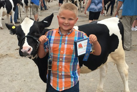 Riley Siemen with his award winning dairy cow.